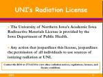 uni s radiation license