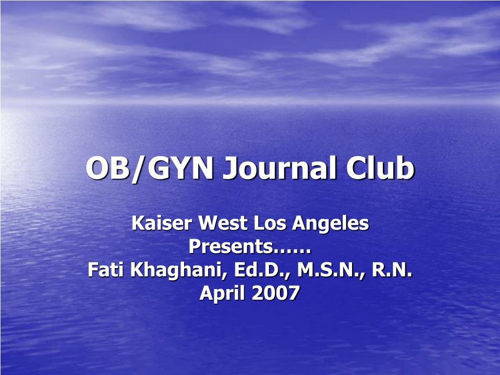 OB/GYN Journal Club