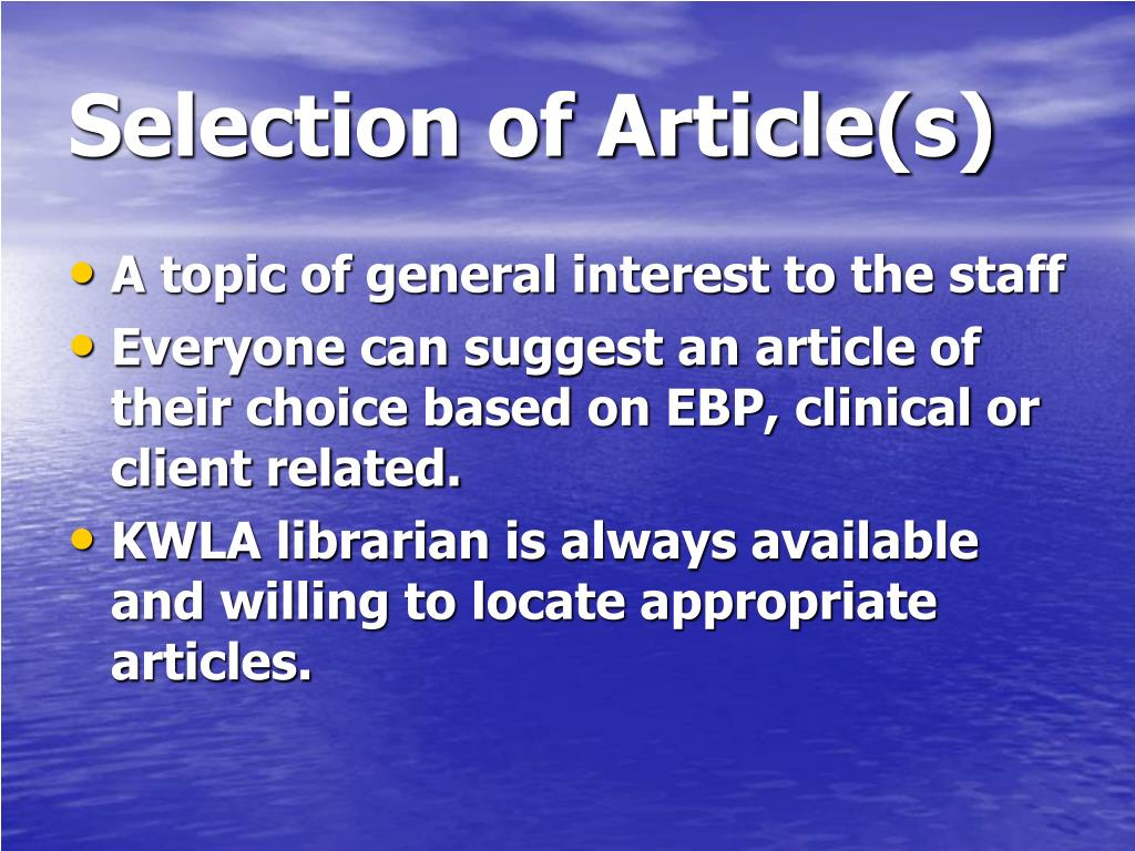 Selection of Article(s)