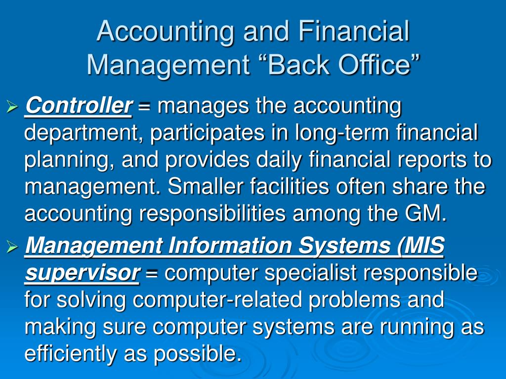 "Accounting and Financial Management ""Back Office"""