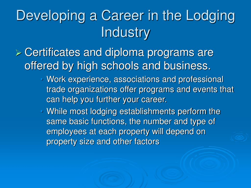 Developing a Career in the Lodging Industry