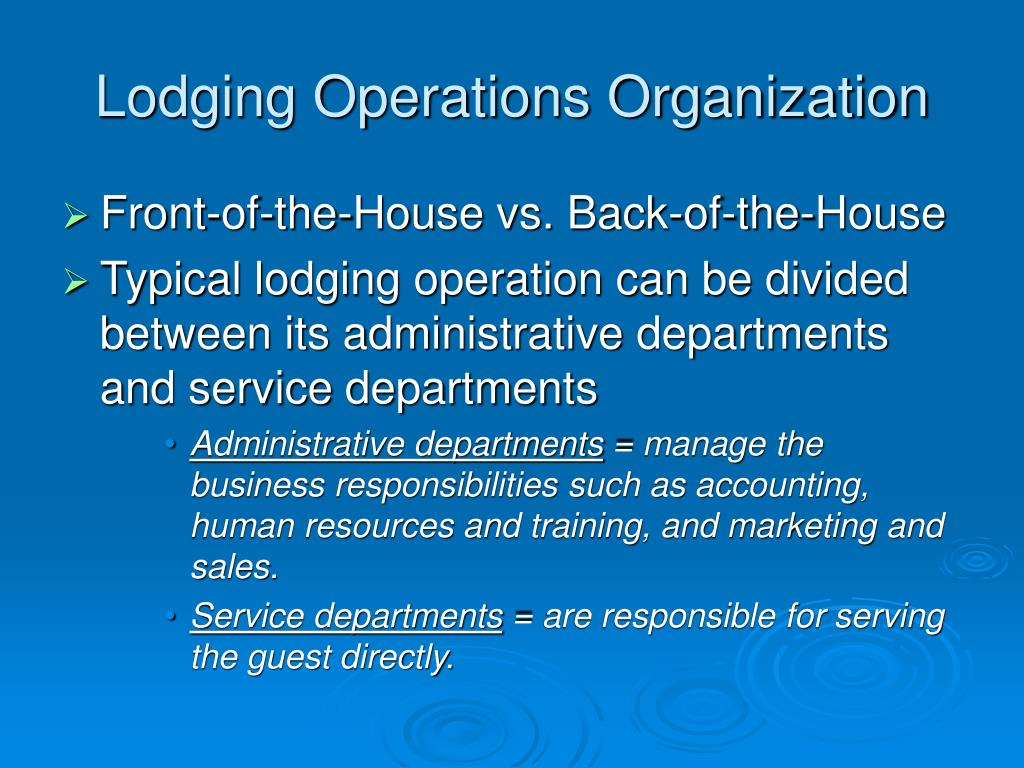 Lodging Operations Organization