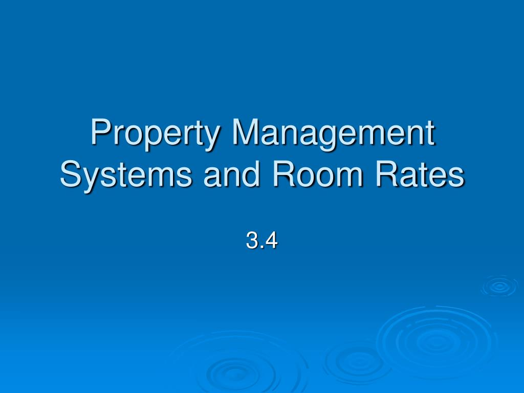 Property Management Systems and Room Rates