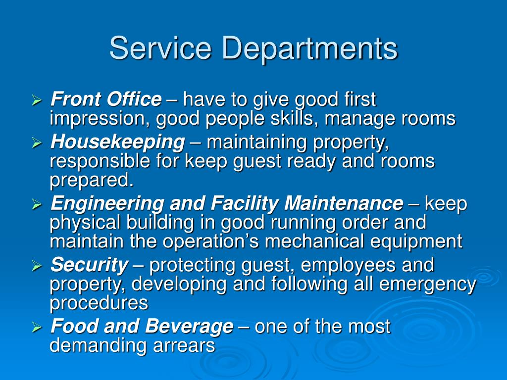 Service Departments