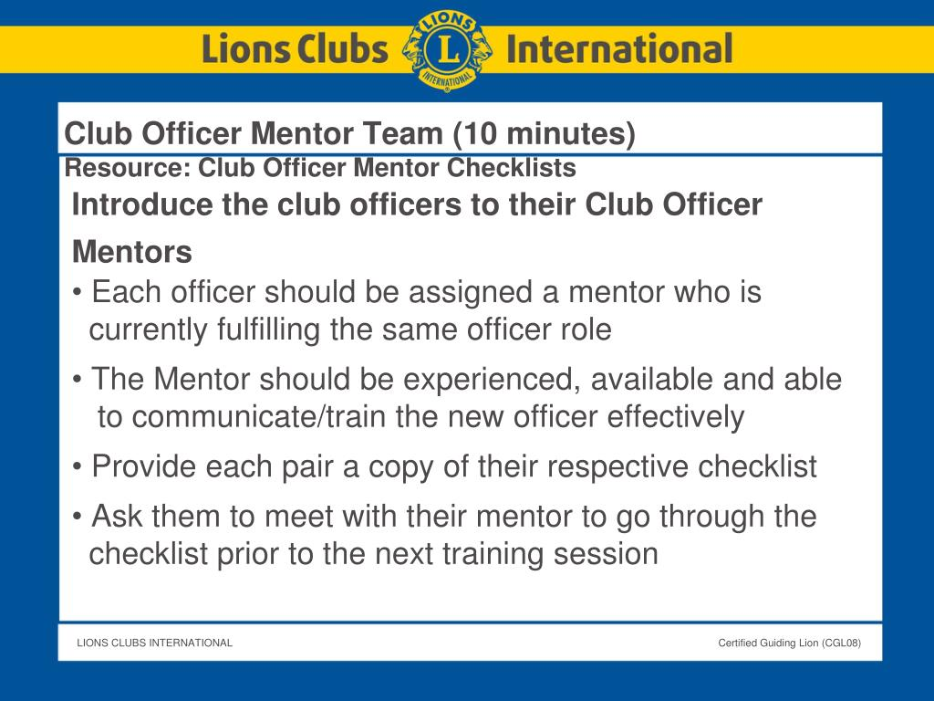 Club Officer Mentor Team (10 minutes)