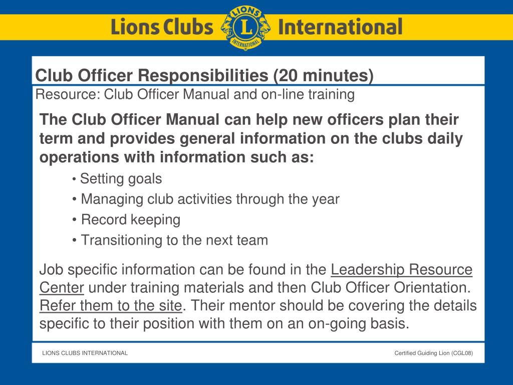 Club Officer Responsibilities (20 minutes)