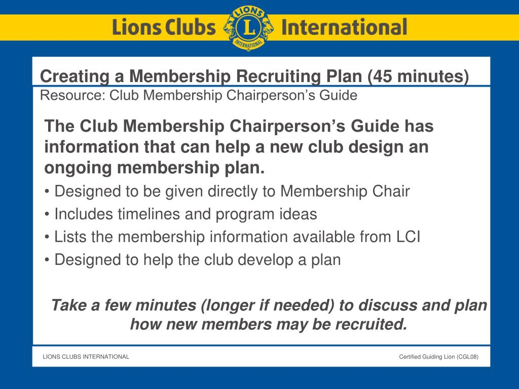 Creating a Membership Recruiting Plan (45 minutes)