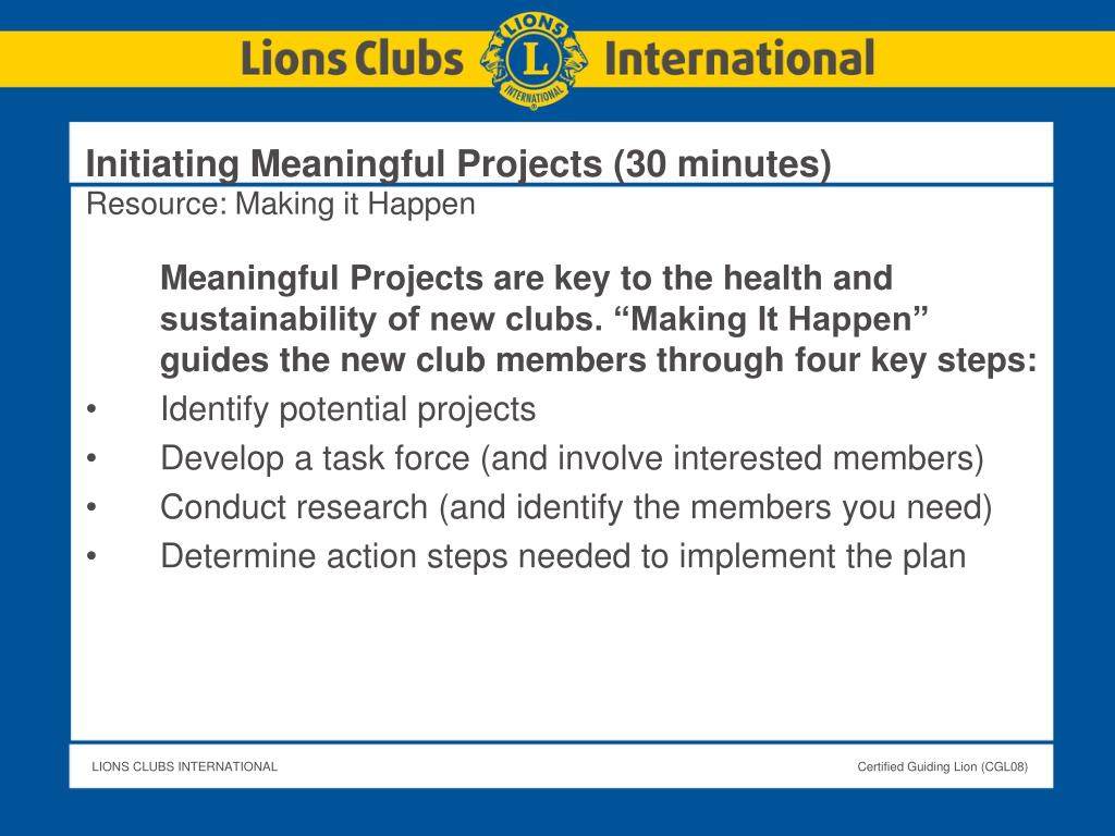 Initiating Meaningful Projects (30 minutes)