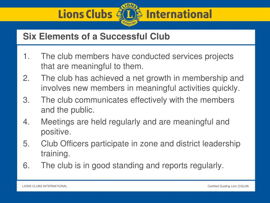 Six Elements of a Successful Club