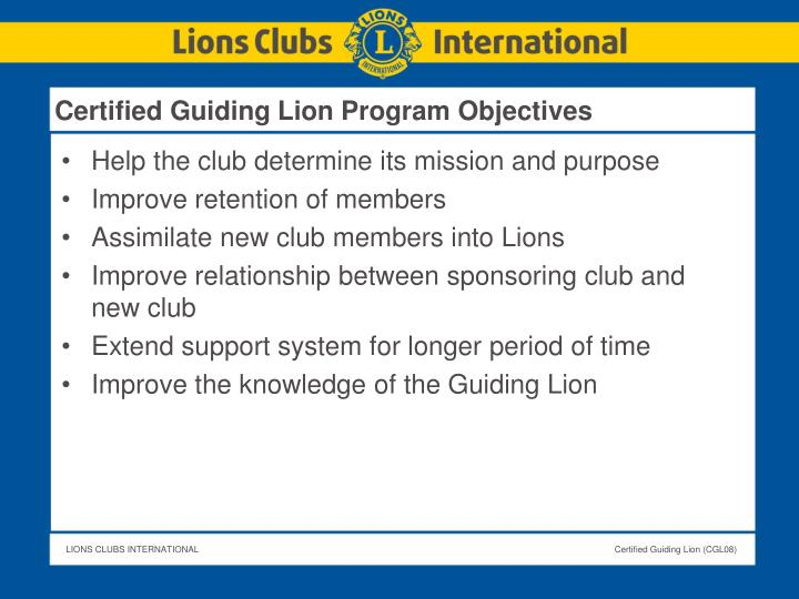 Certified Guiding Lion Program Objectives