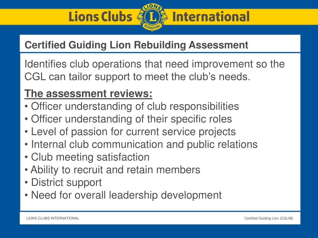 Certified Guiding Lion Rebuilding Assessment