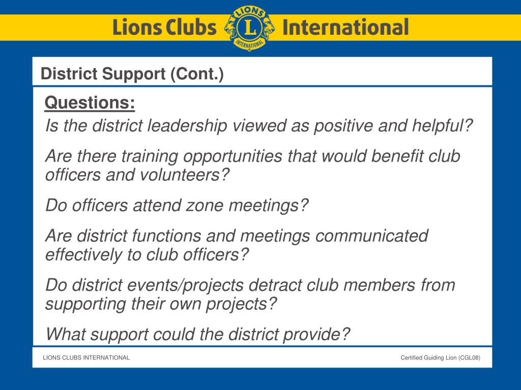 District Support (Cont.)