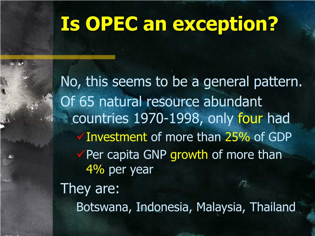 Is OPEC an exception?