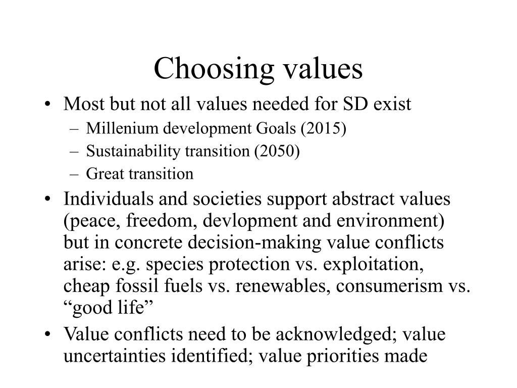 Choosing values