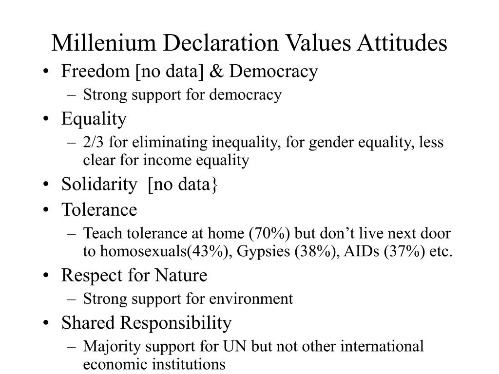 Millenium Declaration Values Attitudes