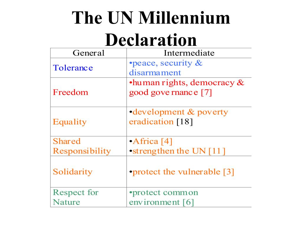 The UN Millennium Declaration