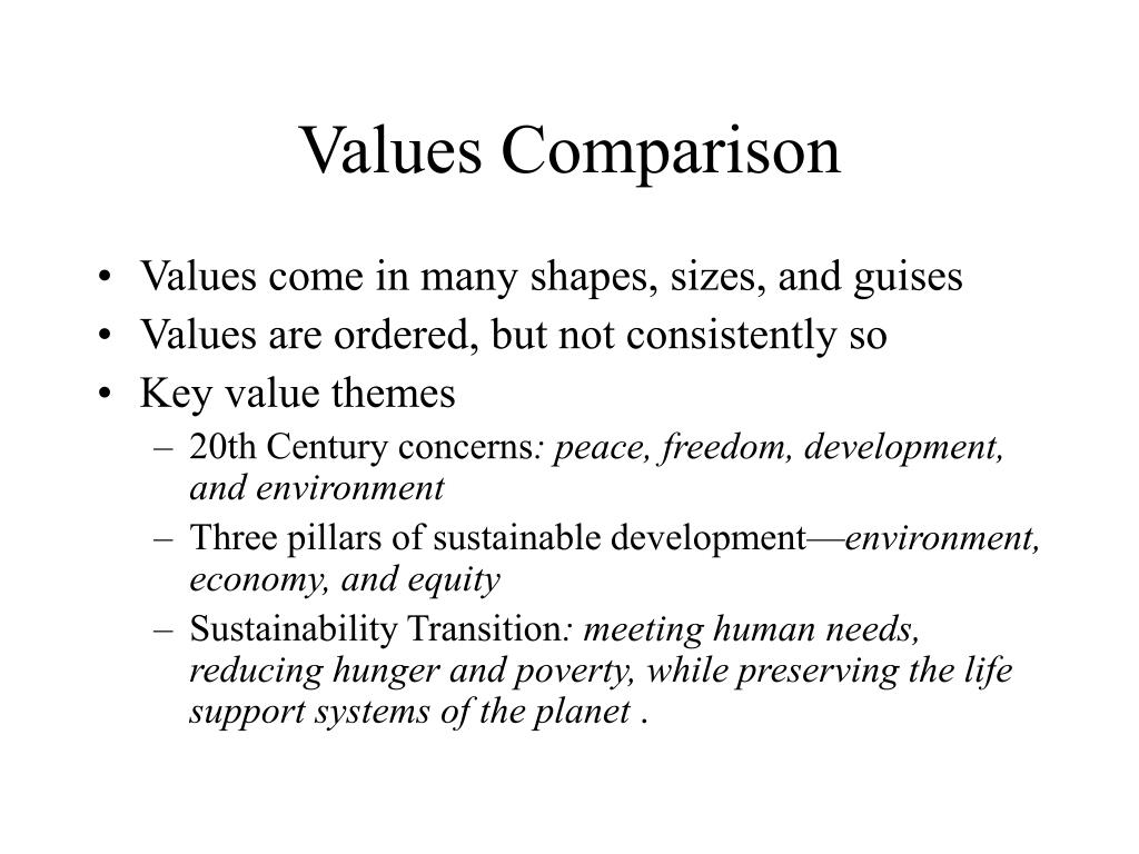 Values Comparison