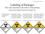 labeling of packages dose rates measured at the surface of the package