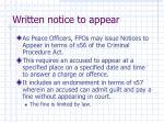 written notice to appear