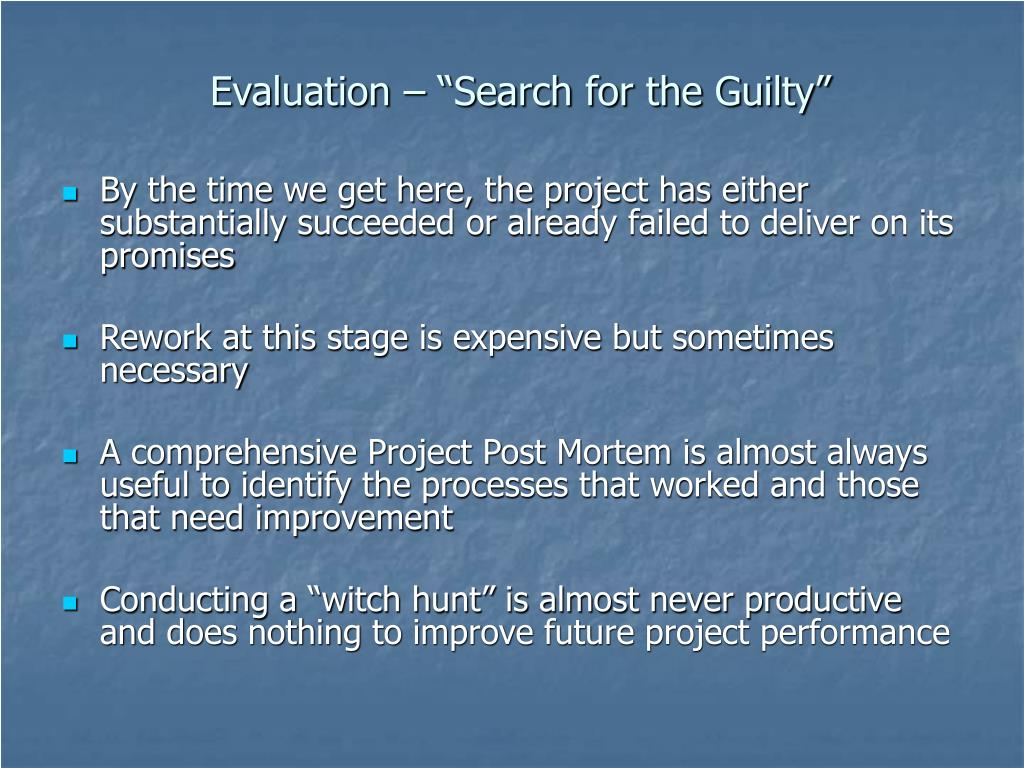 """Evaluation – """"Search for the Guilty"""""""