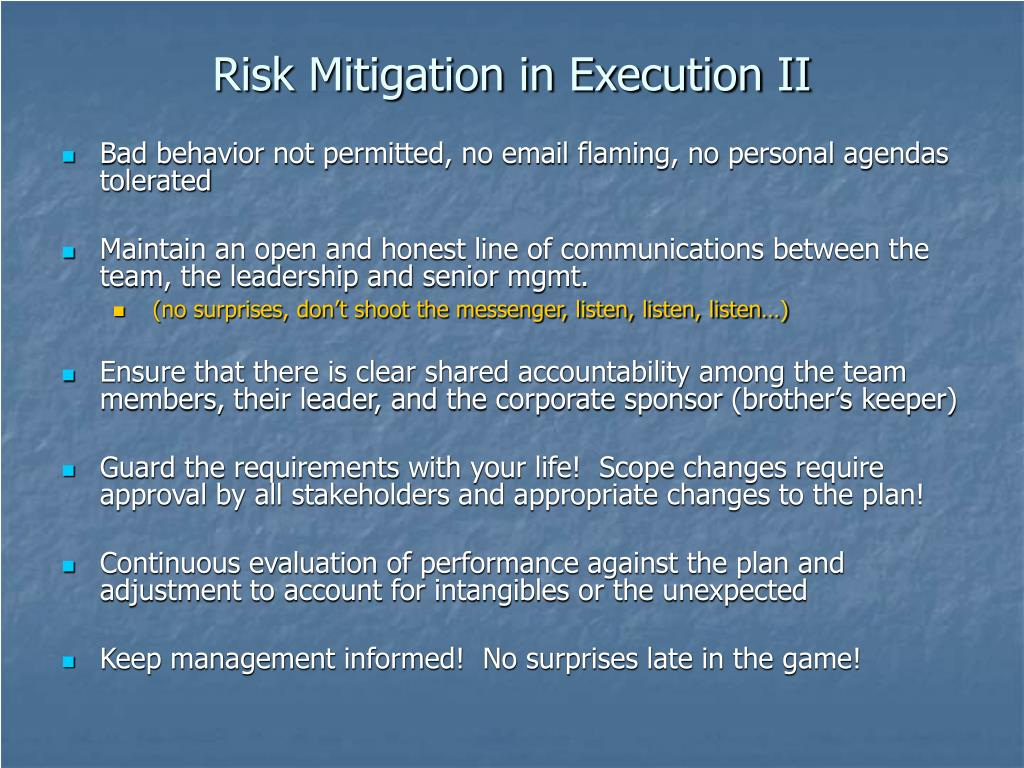 Risk Mitigation in Execution II