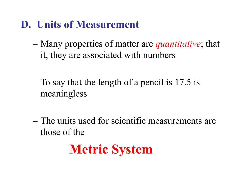 D.  Units of Measurement