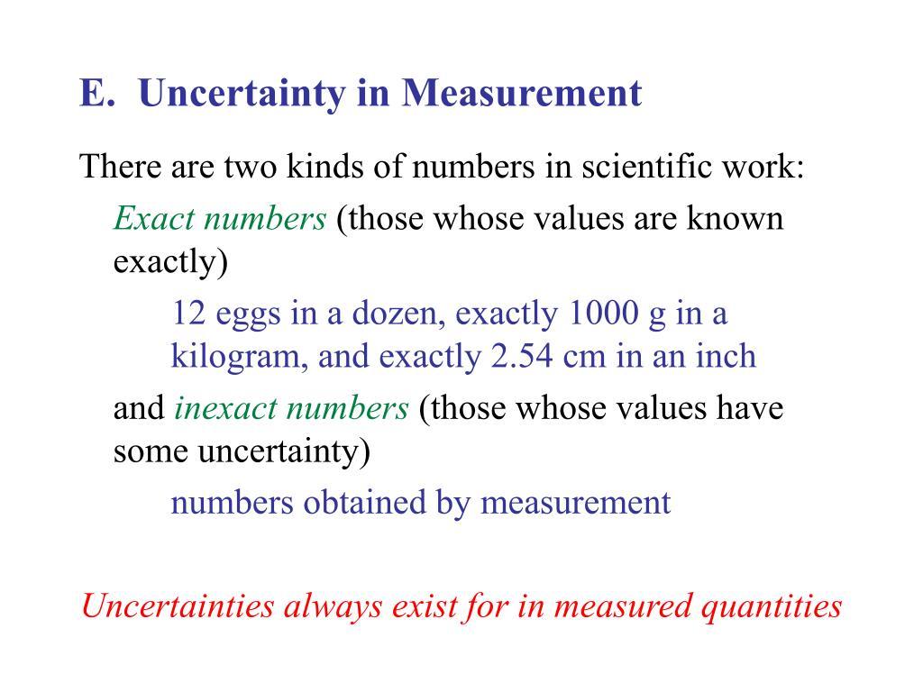 E.  Uncertainty in Measurement