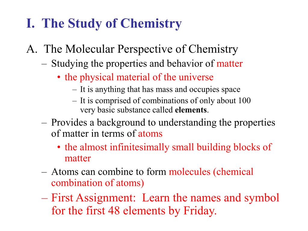 i the study of chemistry l.