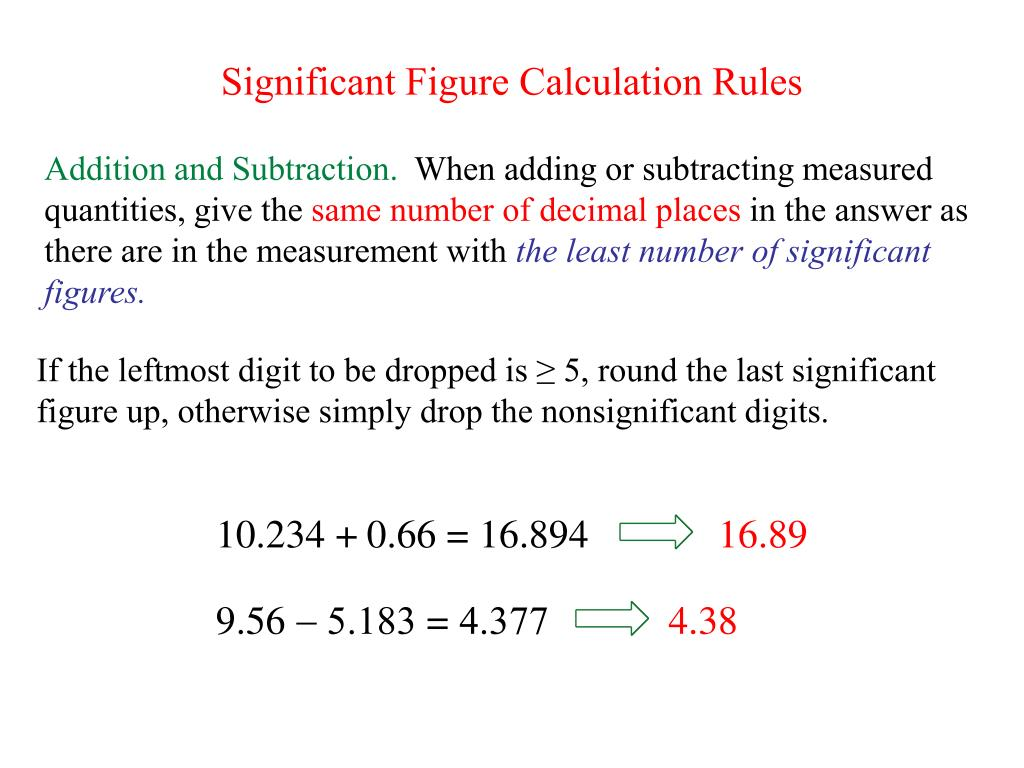 Significant Figure Calculation Rules