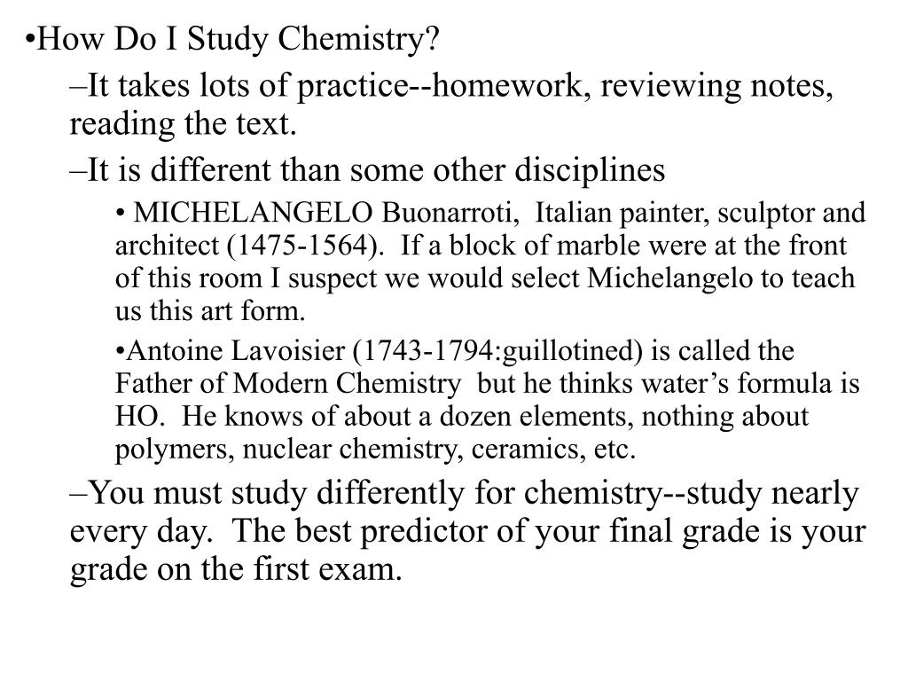 How Do I Study Chemistry?