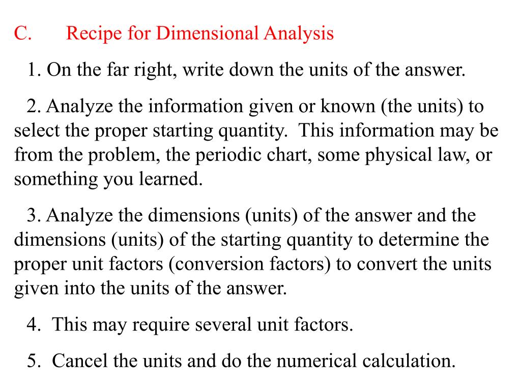 C.Recipe for Dimensional Analysis