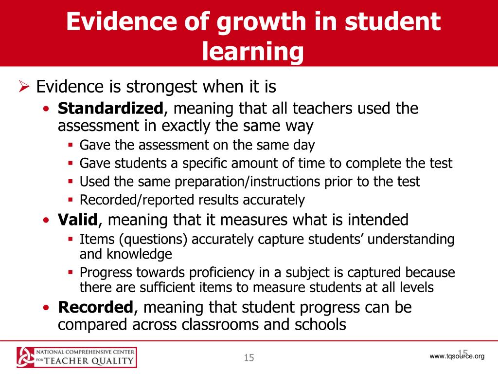 Evidence of growth in student learning
