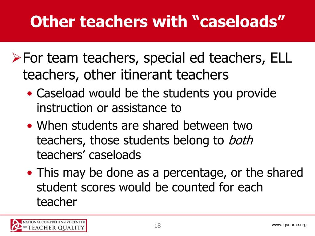 "Other teachers with ""caseloads"""