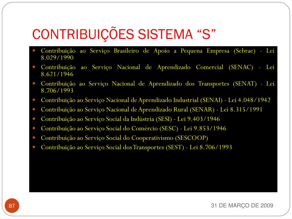 "CONTRIBUIÇÕES SISTEMA ""S"""