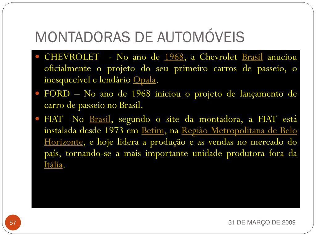 MONTADORAS DE AUTOMÓVEIS