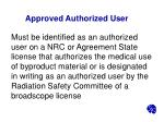 approved authorized user