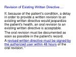 revision of existing written directive