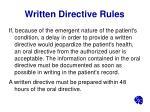 written directive rules