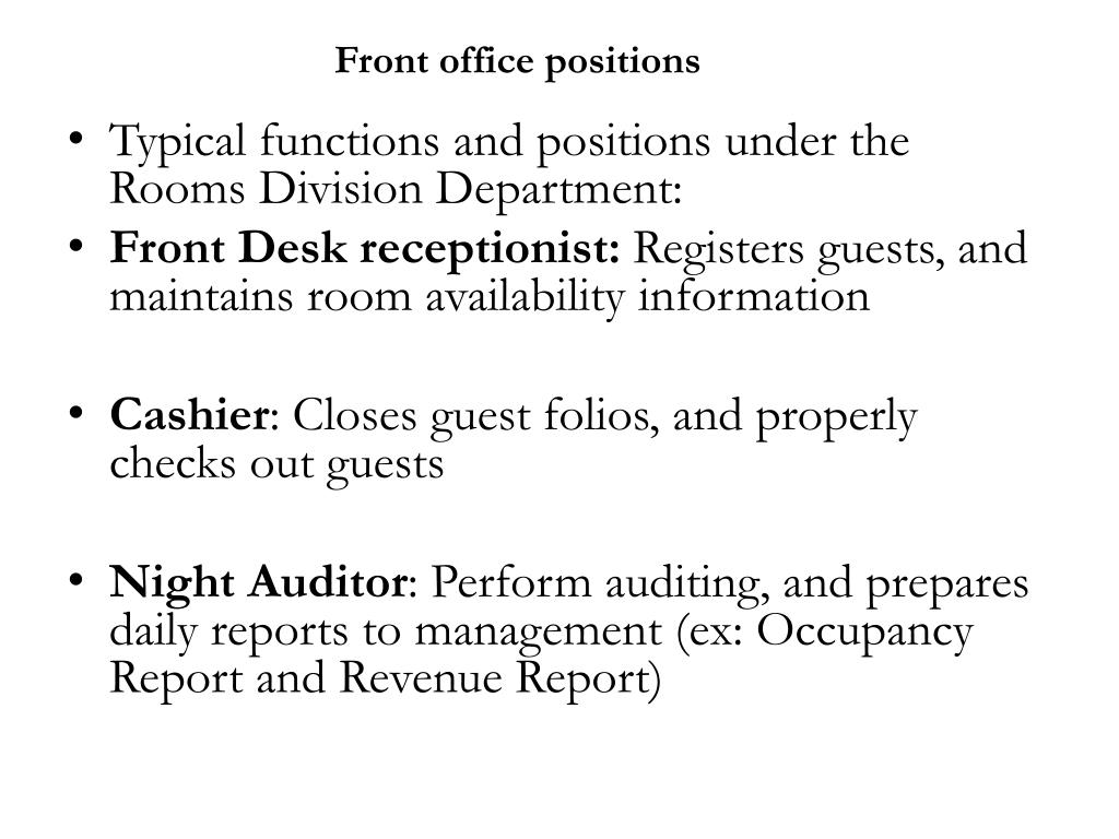 Front office positions
