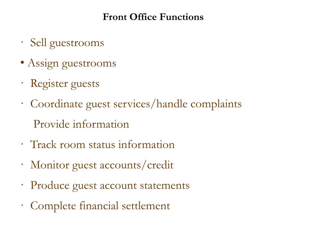 Front Office Functions