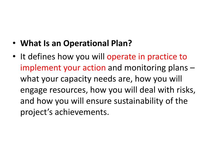 What Is an Operational Plan?