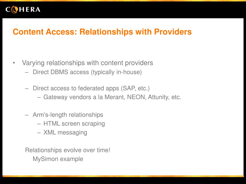 Content Access: Relationships with Providers
