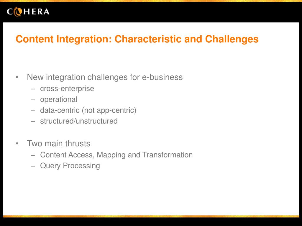 Content Integration: Characteristic and Challenges