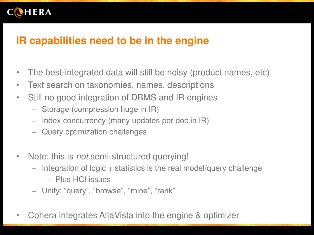 IR capabilities need to be in the engine