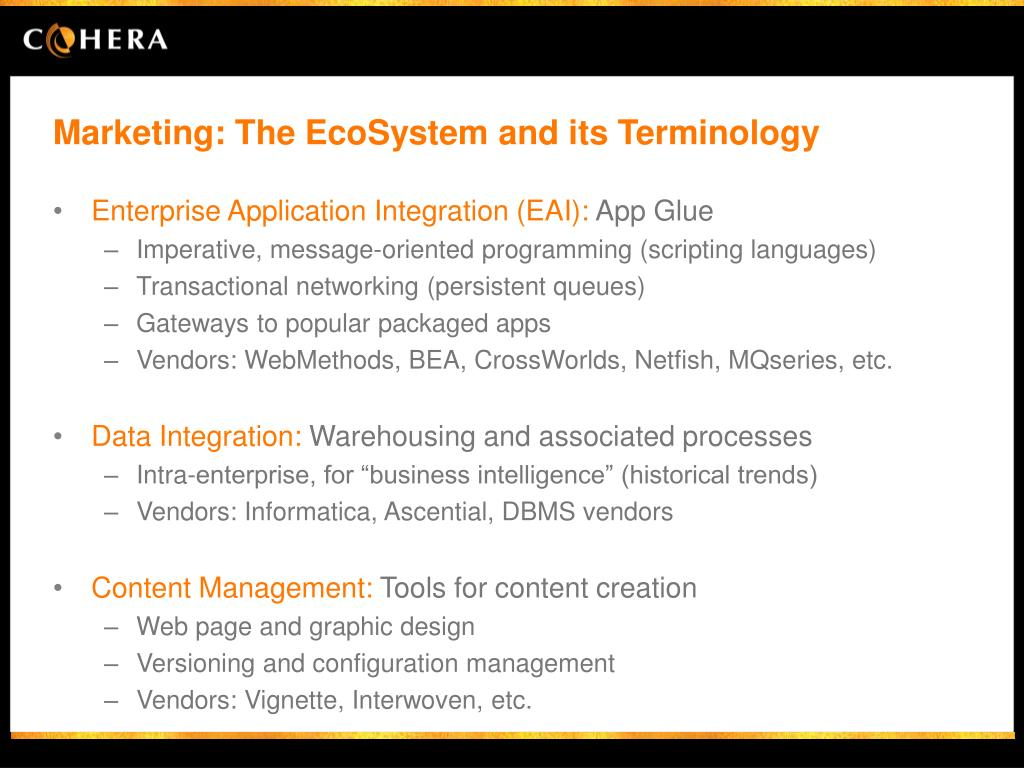 Marketing: The EcoSystem and its Terminology