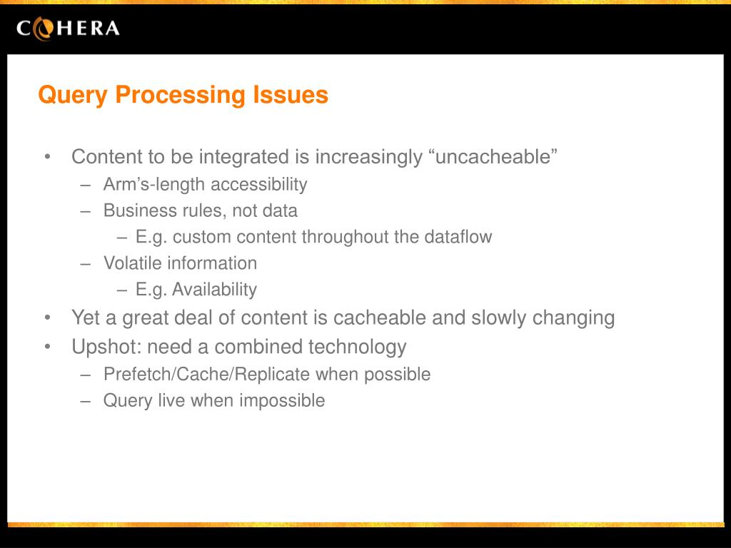 Query Processing Issues