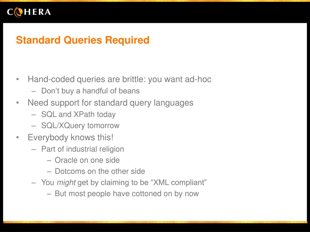 Standard Queries Required