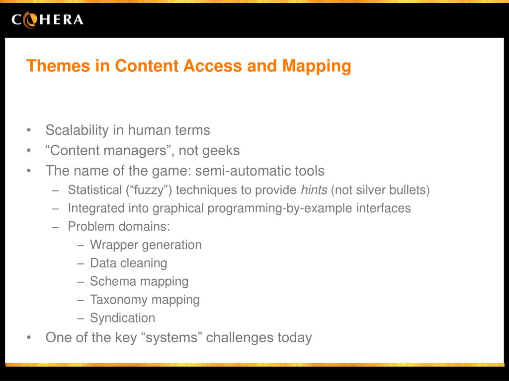 Themes in Content Access and Mapping