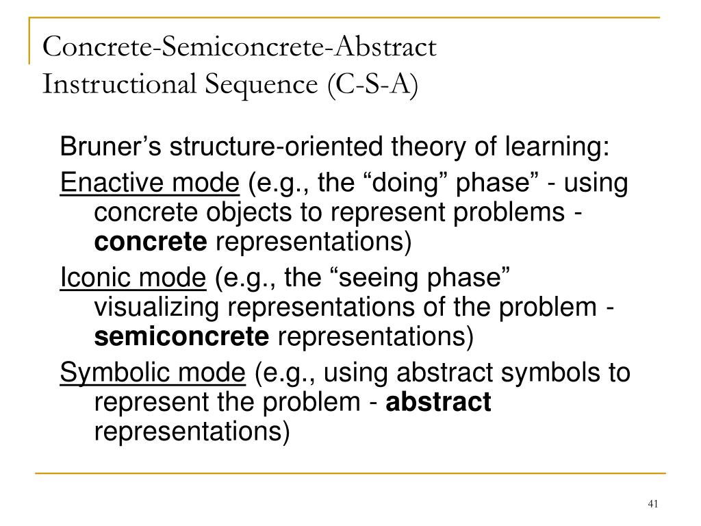 Concrete-Semiconcrete-Abstract Instructional Sequence (C-S-A)