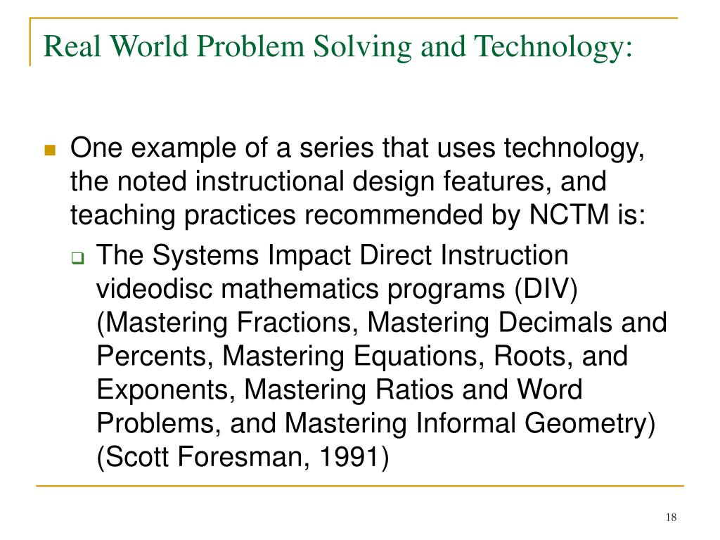 Real World Problem Solving and Technology: